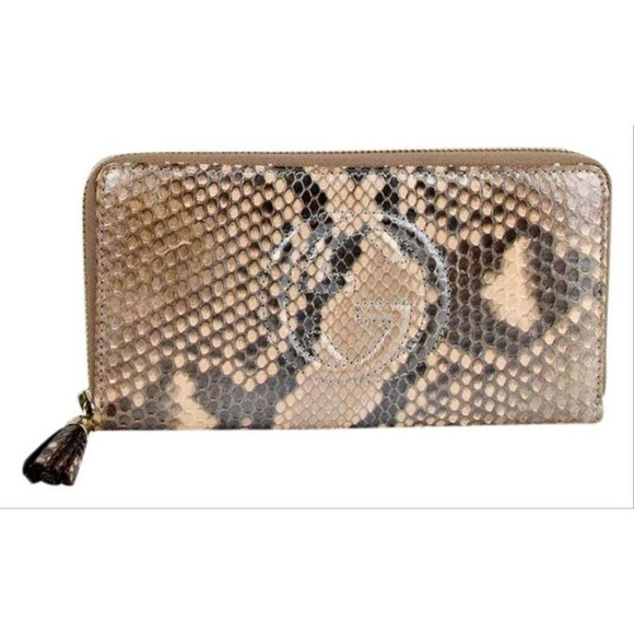 a8f61639942b Gucci Brown Python Leather Snack Zip Around Wallet. NWT. Gucci. $862 $950.  Size